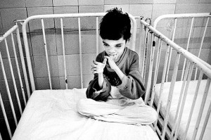 photo credit: Angela Catlin public domain. This 13-year-old Romanian child shows the physical neglect that is now seen matched in the brains of even those in better institutions.