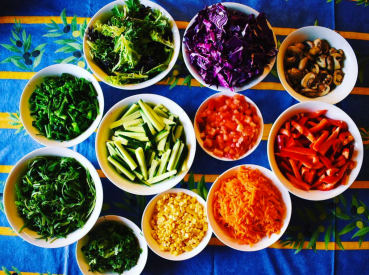 A photo of all of the veggies my sister and I chopped up for a summer feast this January Australia.